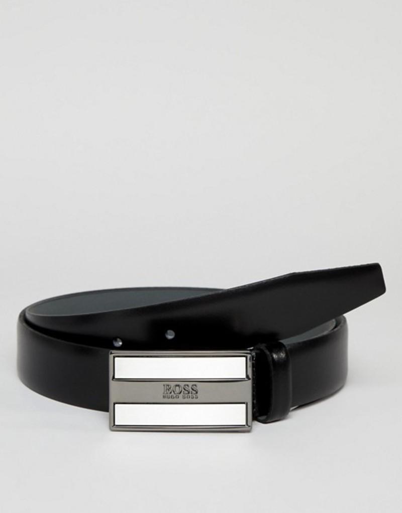 ボス メンズ ベルト アクセサリー BOSS Bexter Plaque Logo Buckle Leather Belt in Black Black