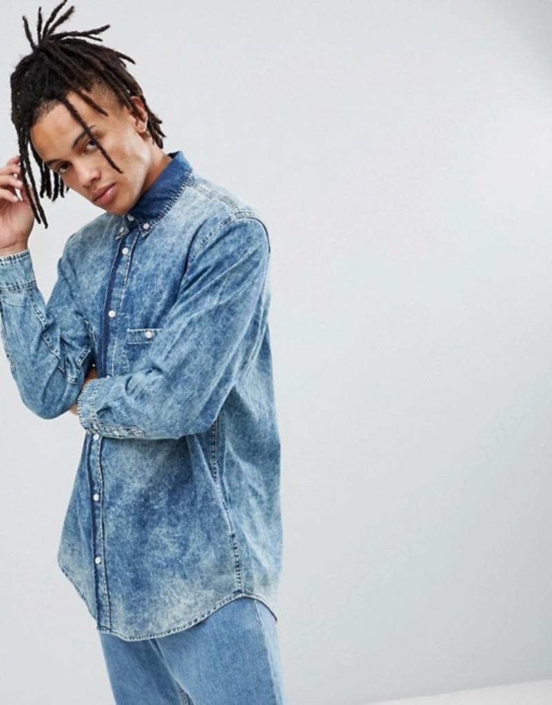 チープマンデー メンズ シャツ トップス Cheap Monday Acid Wash Denim Shirt Blue