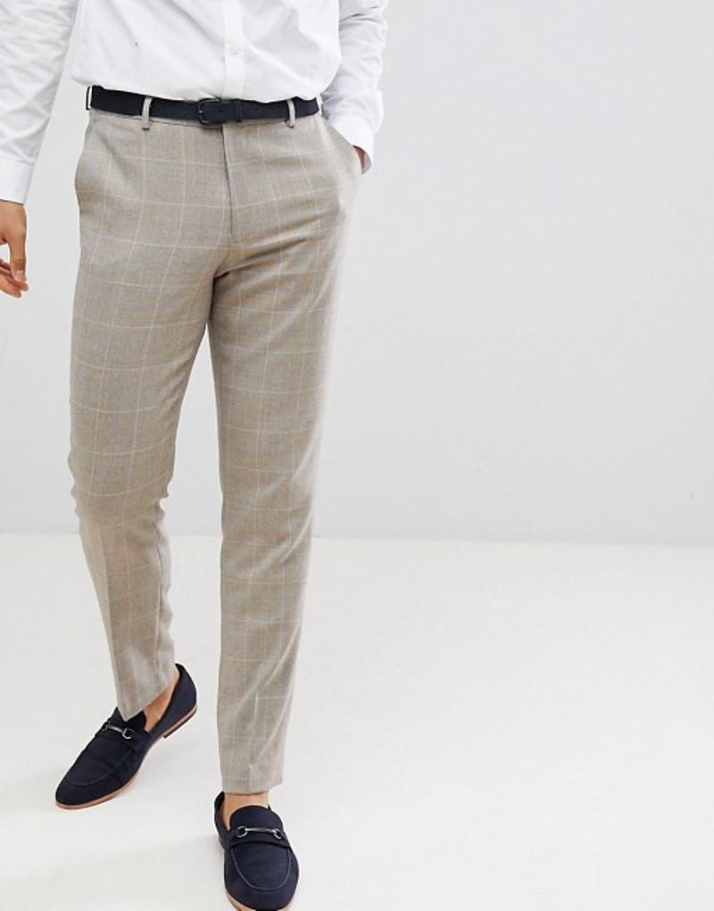 エイソス メンズ カジュアルパンツ ボトムス ASOS DESIGN skinny smart pants in putty wool mix check Putty