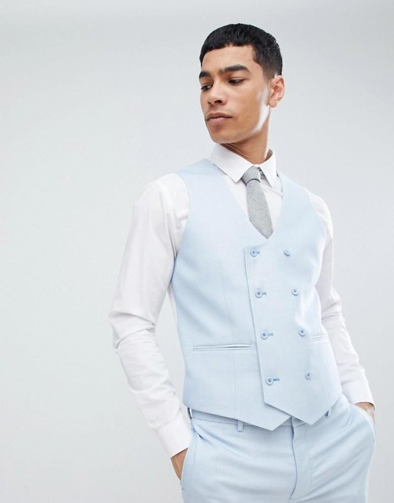 エイソス メンズ タンクトップ トップス ASOS DESIGN wedding super skinny suit vest in ice blue micro texture Blue