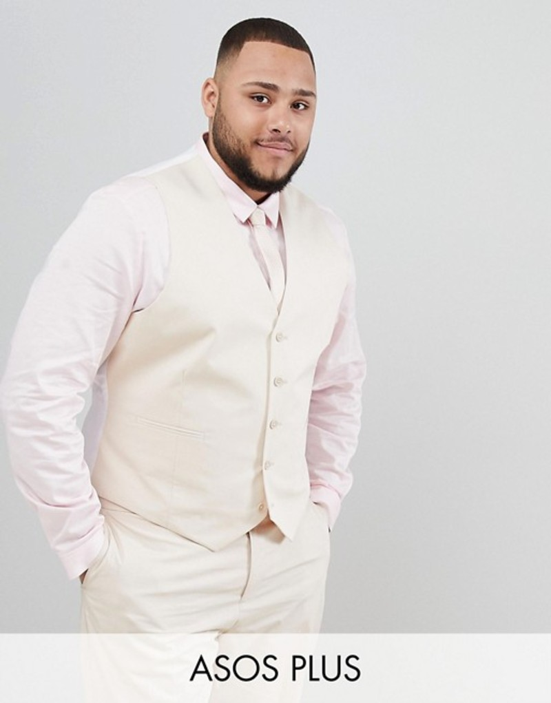 エイソス メンズ タンクトップ トップス ASOS DESIGN Plus wedding skinny suit vest in stretch cotton in stone Stone
