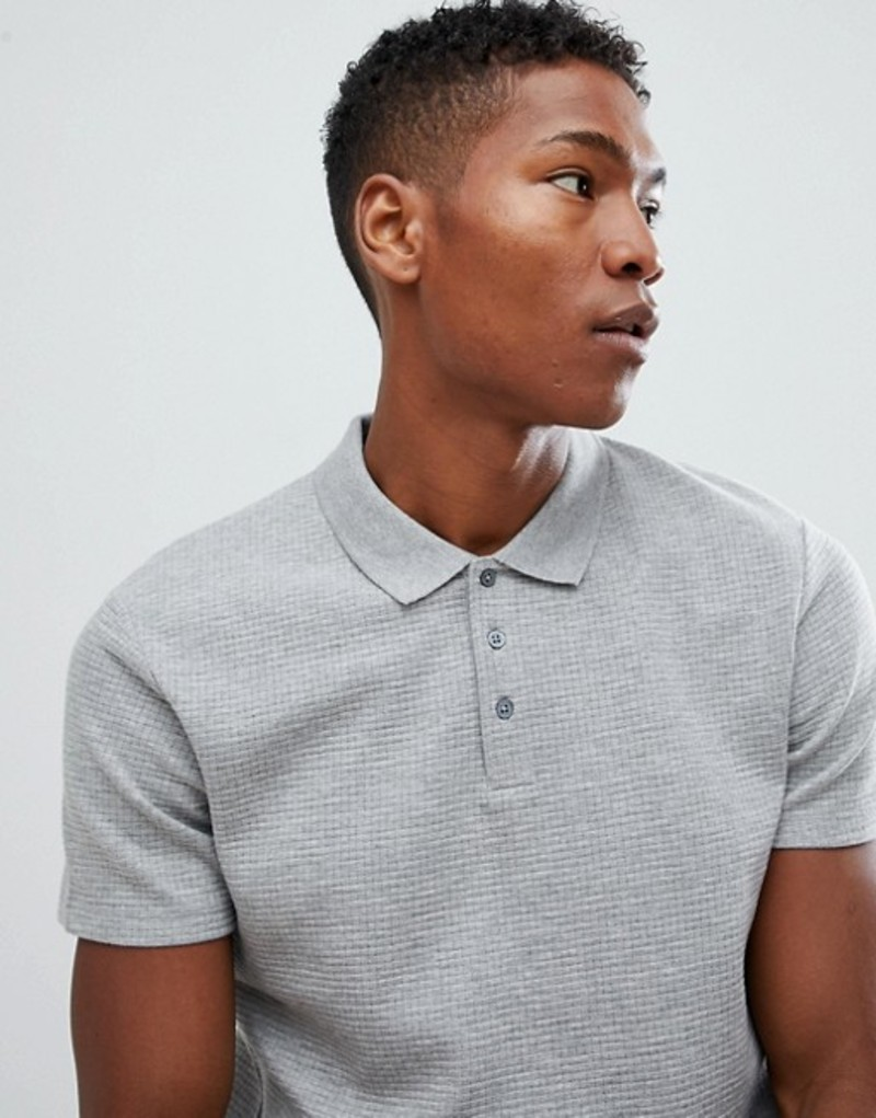 セレクテッドオム メンズ ポロシャツ トップス Selected Homme Polo Shirt In Structured Waffle Grey melange