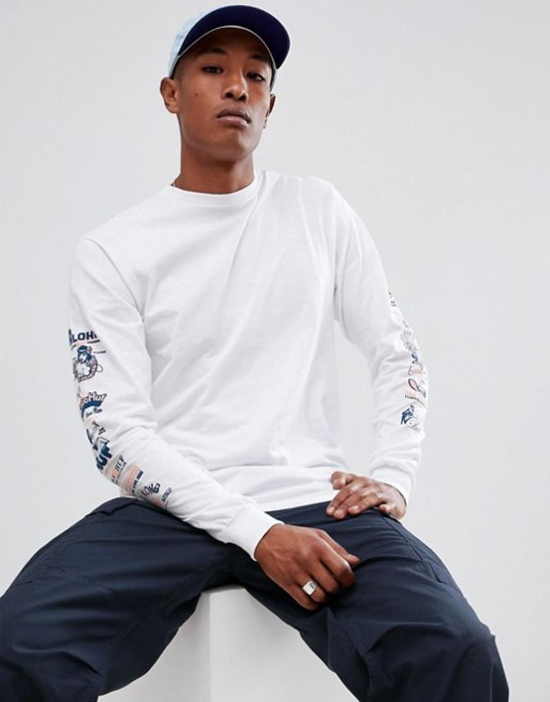 ハフ メンズ Tシャツ トップス HUF collage long sleeve t-shirt with sleeve print in white White, ZNEWMARK(ジニューマーク) dd80a78c