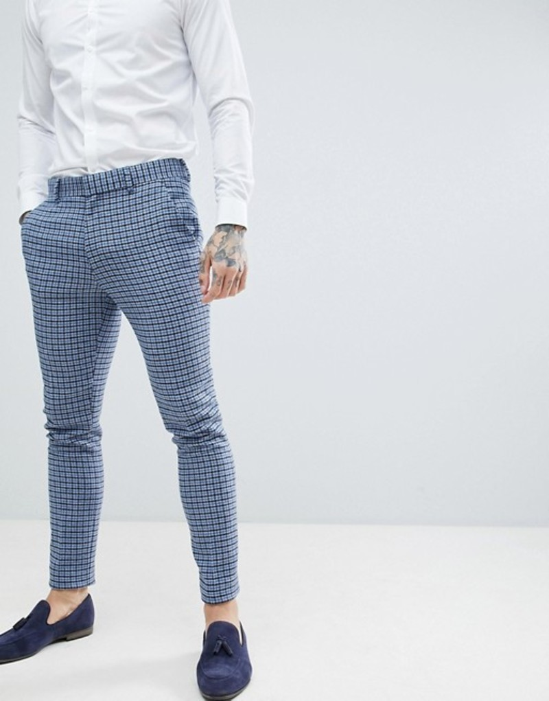 エイソス メンズ カジュアルパンツ ボトムス ASOS DESIGN wedding super skinny suit pants in blue wool blend mini check Blue
