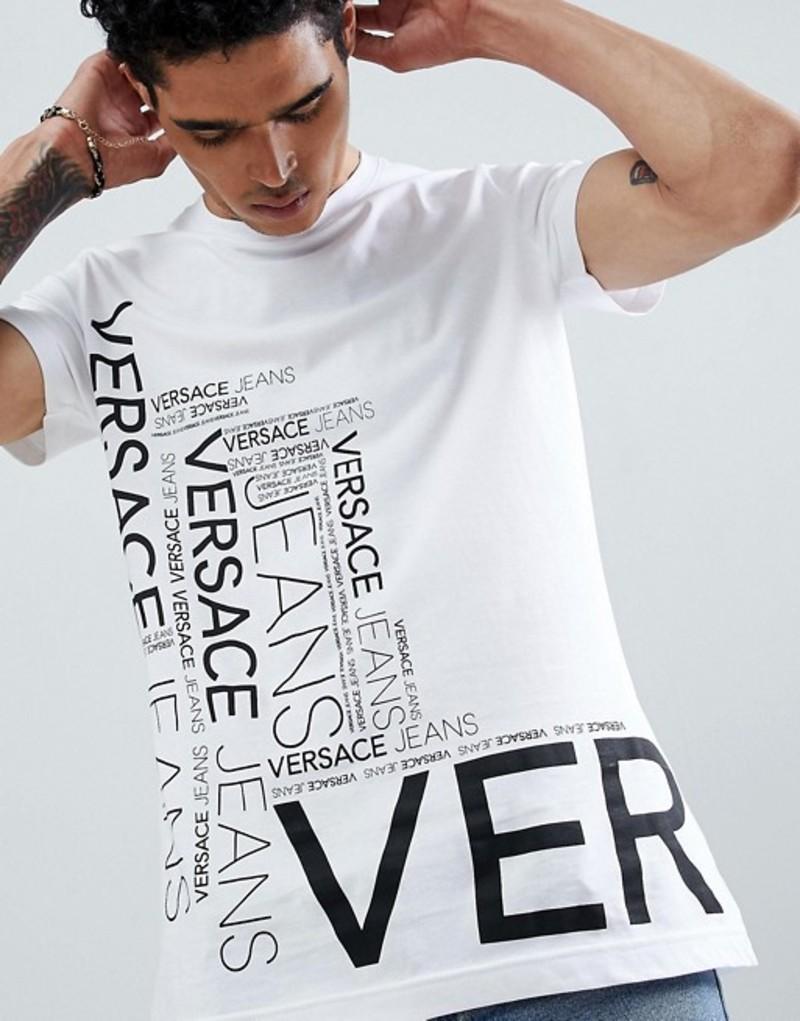 ヴェルサーチ メンズ Tシャツ トップス Versace Jeans t-shirt in white with repeat logo White