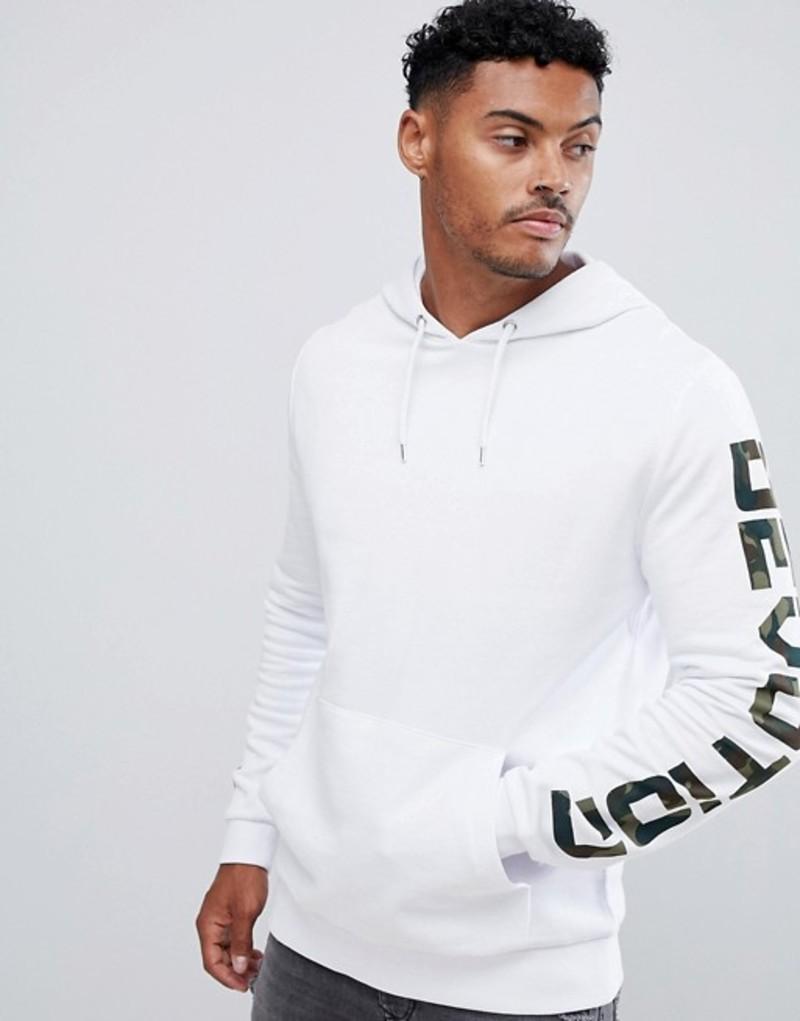 【オープニング大セール】 エイソス メンズ パーカー・スウェット アウター print ASOS アウター DESIGN hoodie in in white with camo text print White, 石田精華園:f916ee0a --- wap.pingado.com
