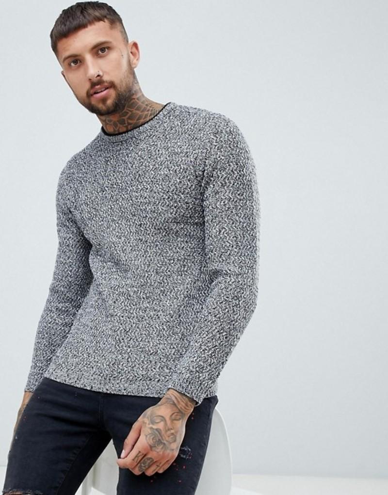 リバーアイランド メンズ ニット・セーター アウター River Island textured sweater in gray marl Grey