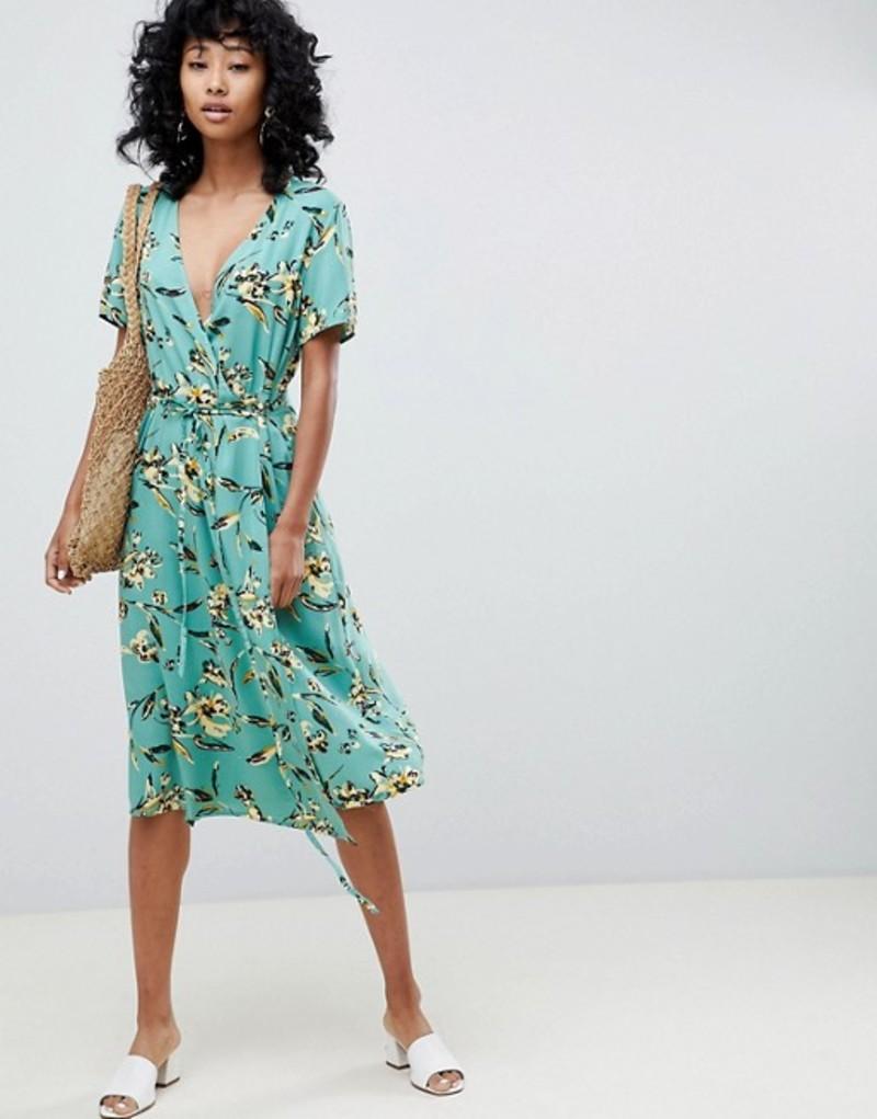 イチ レディース ワンピース トップス Ichi Floral Wrap Dress Feldspar