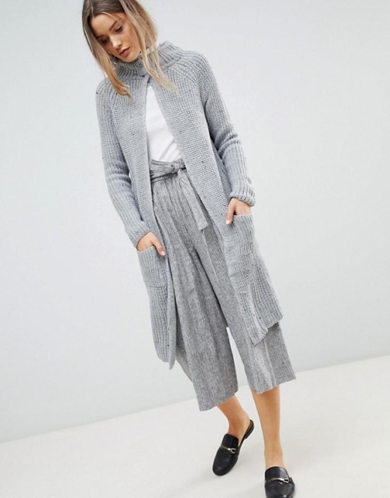 ジビロンドン レディース カーディガン アウター Zibi London Longline Cardigan With Front Pockets Grey