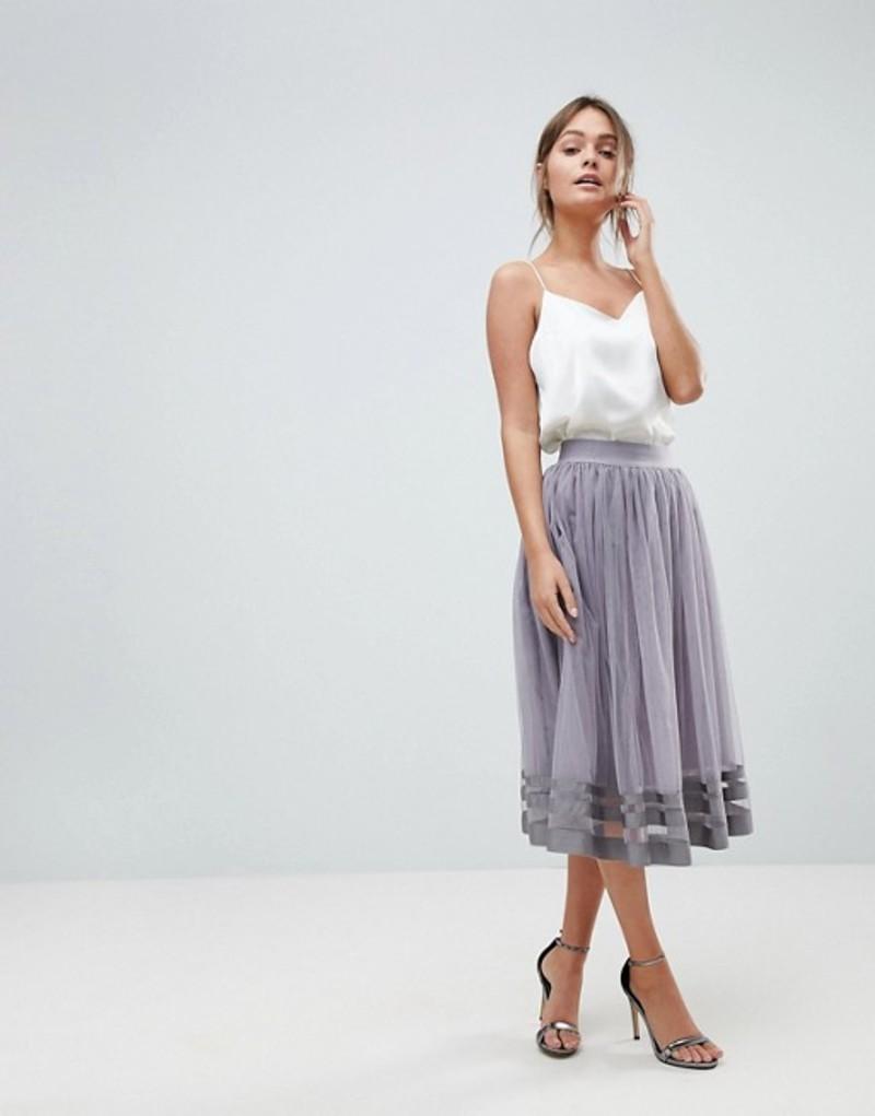 リトルミストレス レディース スカート ボトムス Little Mistress midi skirt Grey