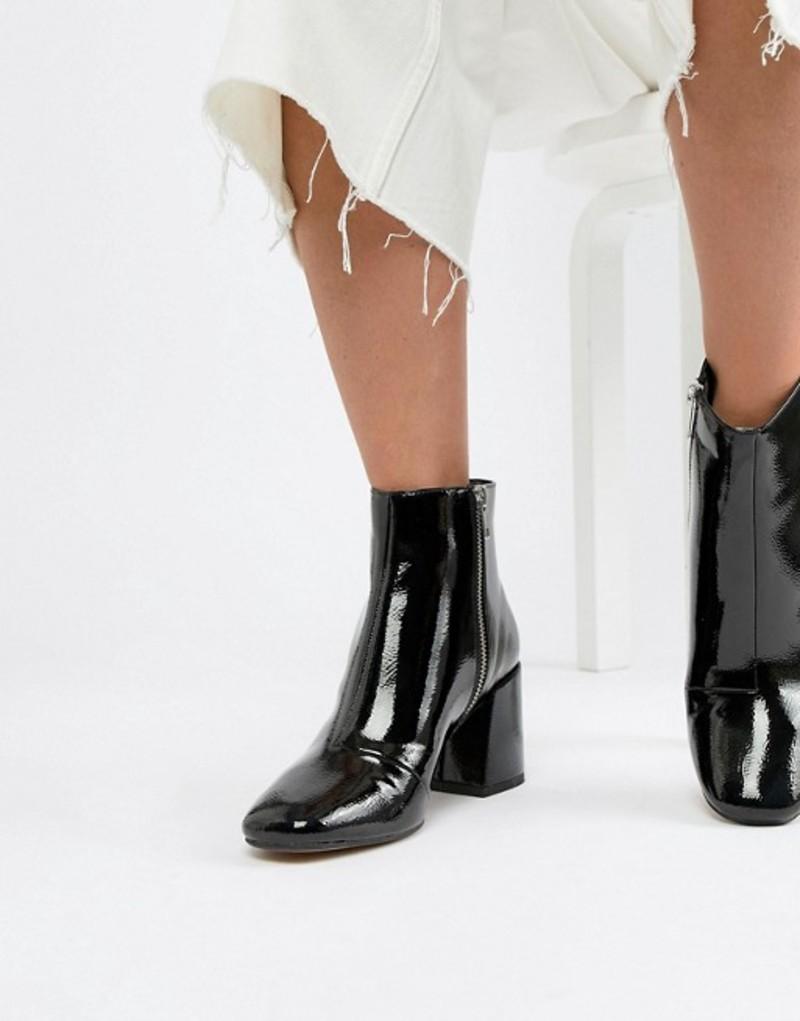 エイソス レディース ブーツ・レインブーツ シューズ ASOS DESIGN Rural Patent Ankle Boots Black patent
