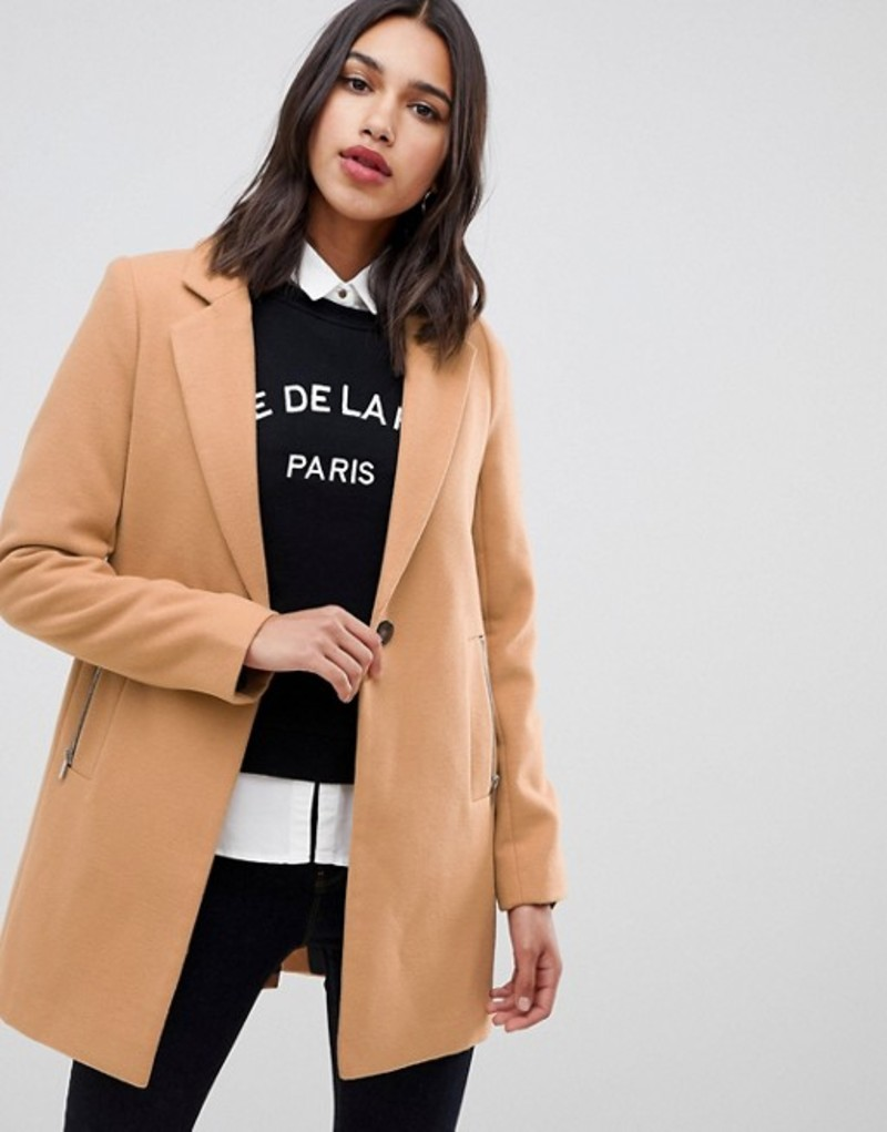 エイソス レディース コート アウター ASOS DESIGN boyfriend coat with zip pocket Camel