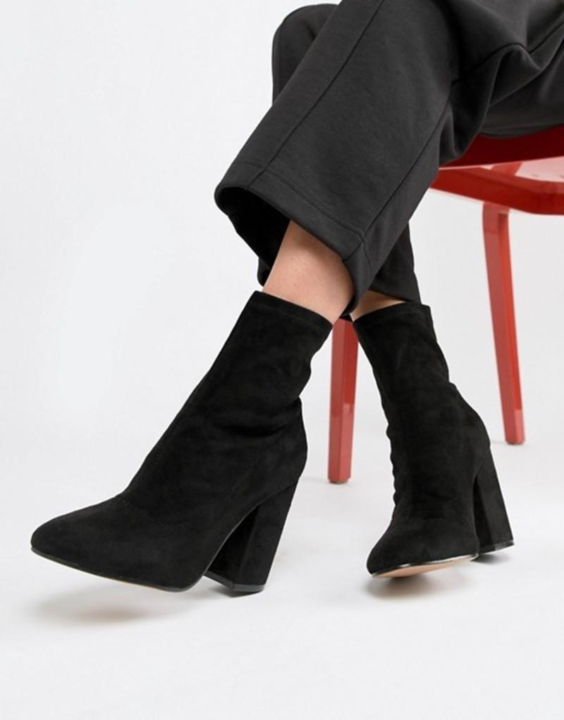 エイソス レディース ブーツ・レインブーツ シューズ ASOS DESIGN Eastern Sock Boots Black micro