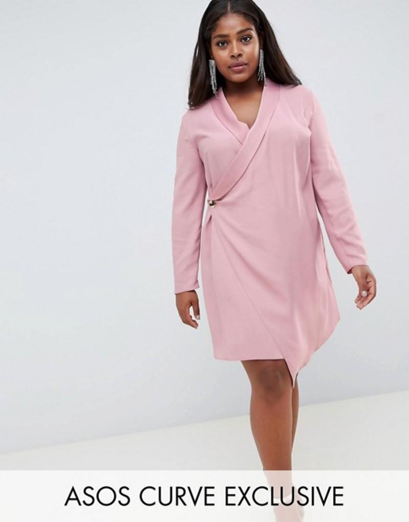 エイソス レディース ワンピース トップス ASOS DESIGN Curve satin tux dress with drape detail Pink