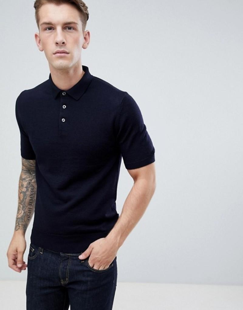 フレンチコネクション メンズ ポロシャツ トップス French Connection Knitted Polo Shirt Navy