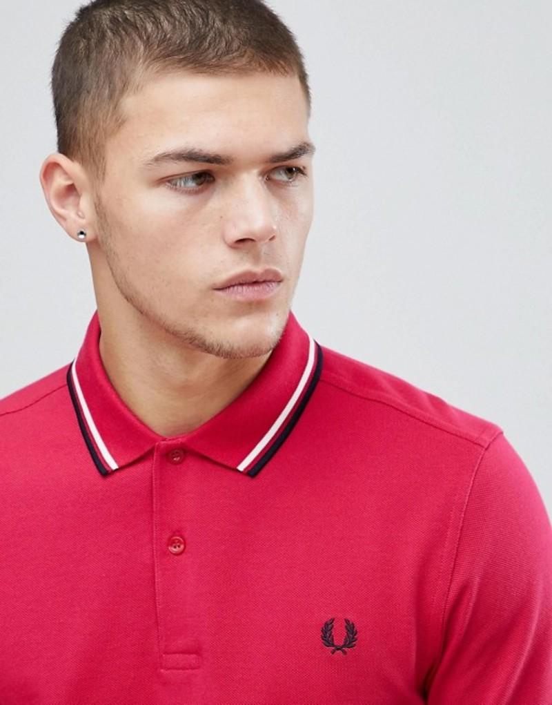フレッドペリー メンズ ポロシャツ トップス Fred Perry Twin Tipped Polo Shirt In Red Red