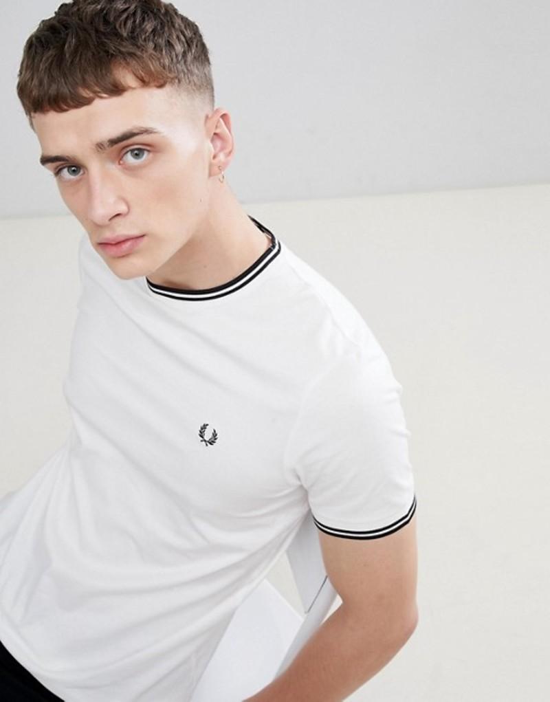 フレッドペリー メンズ Tシャツ トップス Fred Perry twin tipped t-shirt in white White
