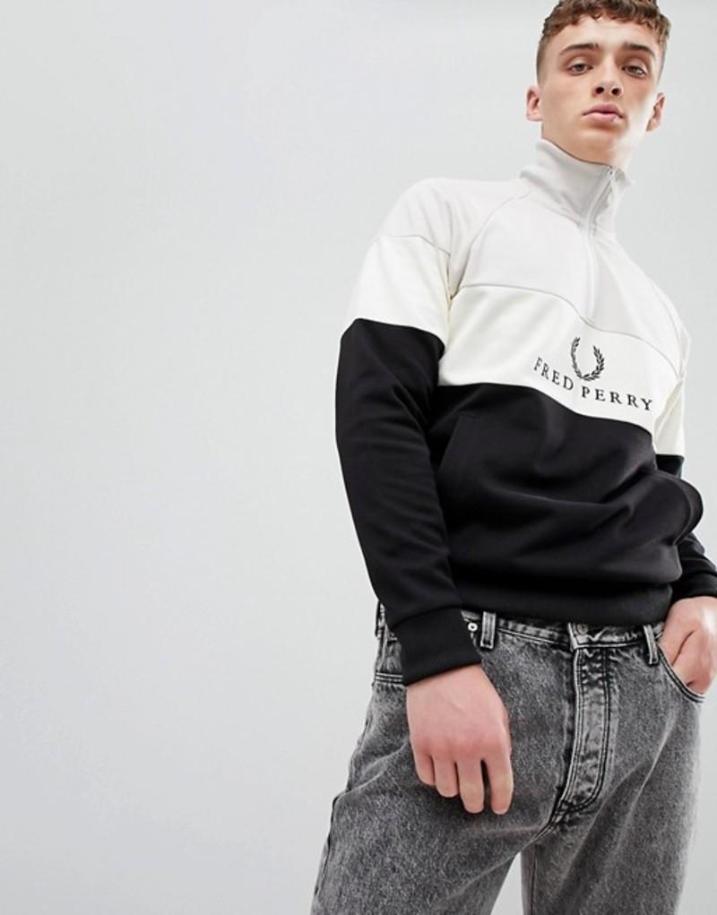 フレッドペリー メンズ パーカー・スウェット アウター Fred Perry Sports authentic embroidered quarter zip sweat in black Black
