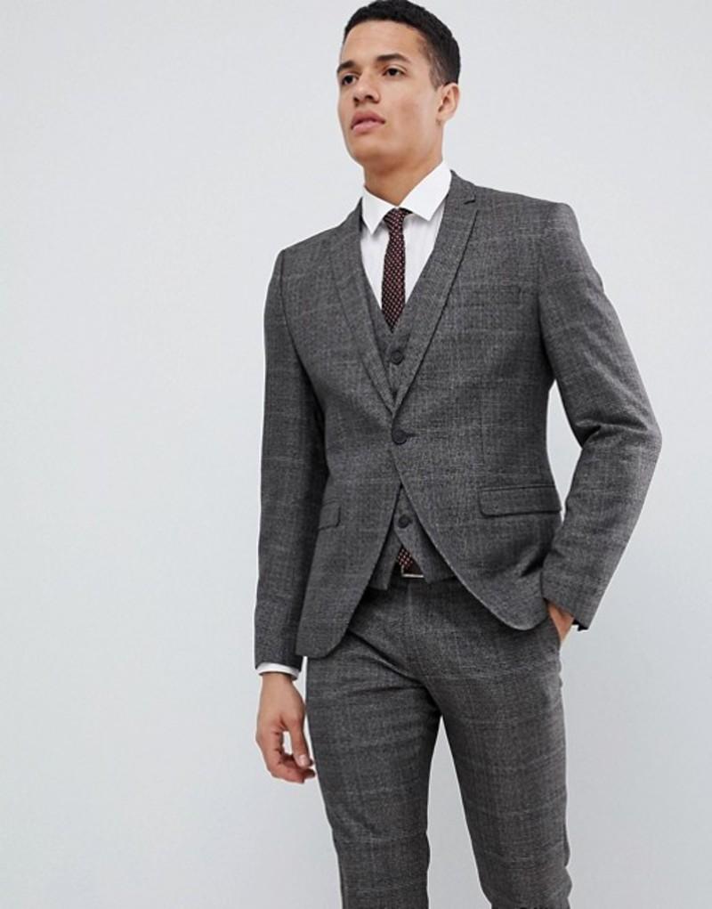 セレクティッド メンズ ジャケット・ブルゾン アウター Selected Homme Skinny Suit Jacket In Check Brownie