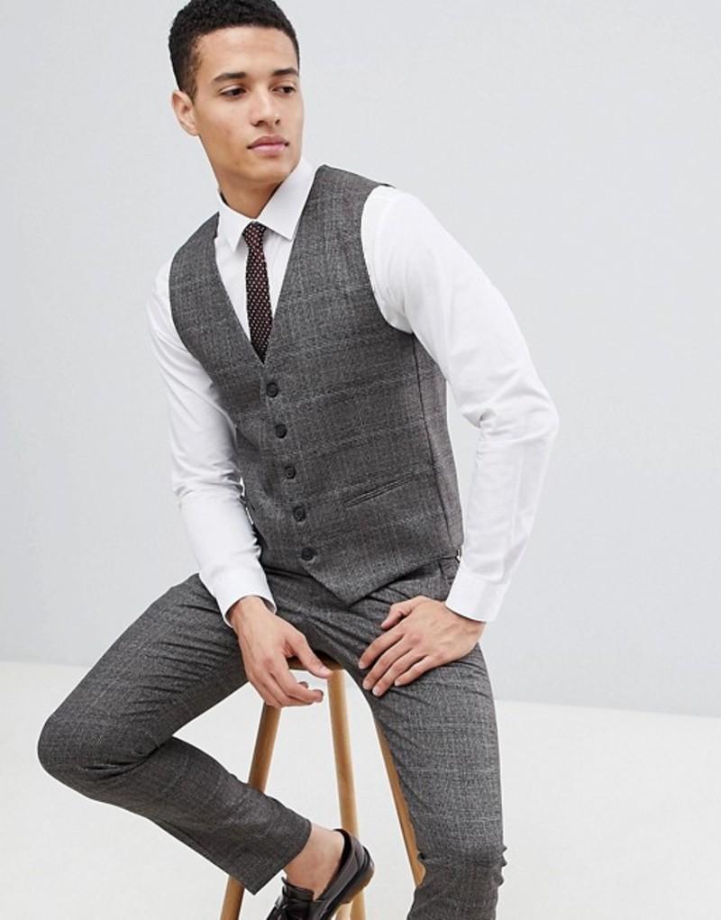 セレクティッド メンズ タンクトップ トップス Selected Homme Skinny Vest In Check Brownie
