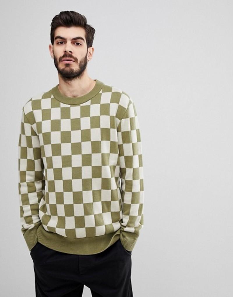 ヌーディージーンズ メンズ ニット・セーター アウター Nudie Jeans Co Elof Checkerboard Sweater Green