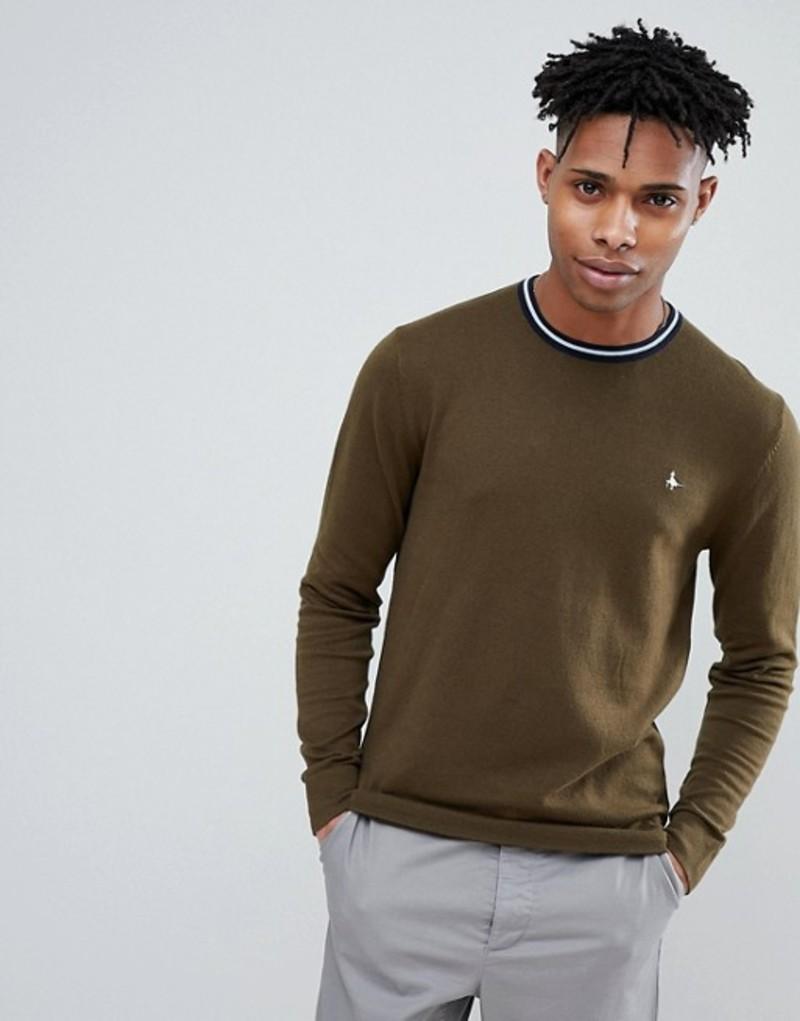 ジャック ウィルス メンズ ニット・セーター アウター Jack Wills Bilton stripe tipped crew neck sweater in olive Green