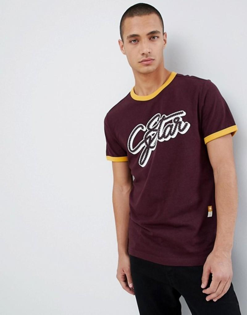 ジースター メンズ Tシャツ トップス G-Star Logo Ringer T-Shirt Red