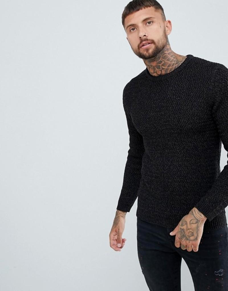 リバーアイランド メンズ ニット・セーター アウター River Island textured sweater in black marl Black