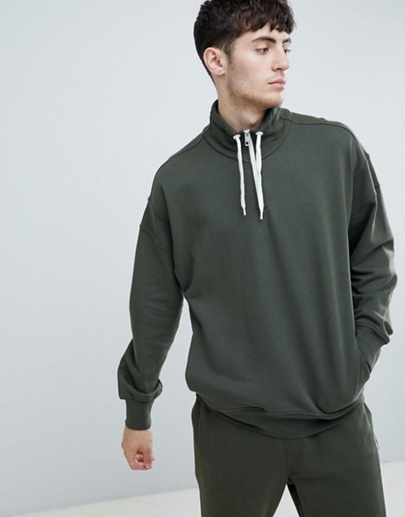 ボス メンズ パーカー・スウェット アウター BOSS Ztalone 1/4 zip sweat in khaki Green