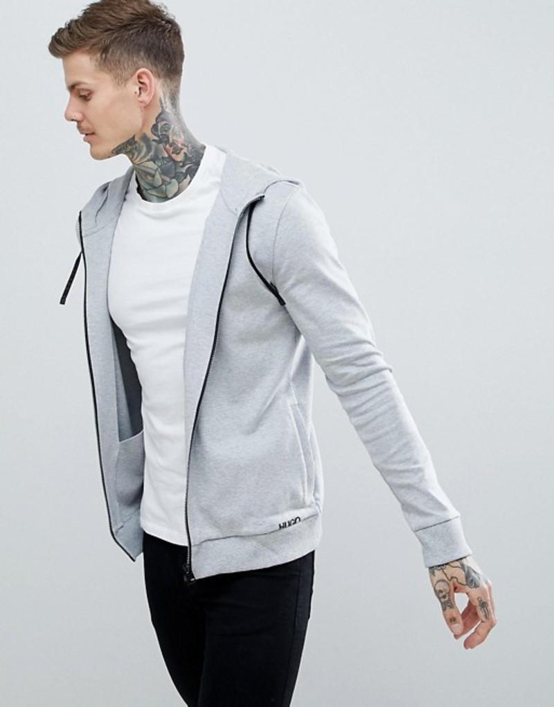 フューゴ メンズ パーカー・スウェット アウター HUGO Daple zip-thru small logo hoodie in gray Grey