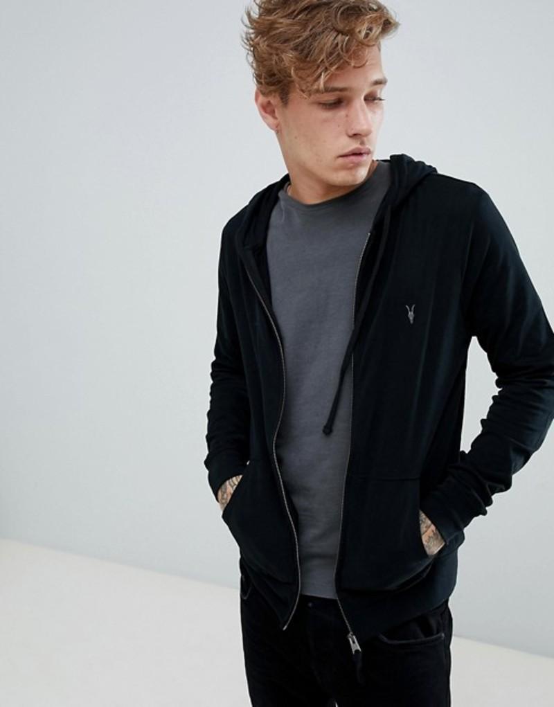 オールセインツ メンズ パーカー・スウェット アウター AllSaints zip through lightweight hoodie in black Black