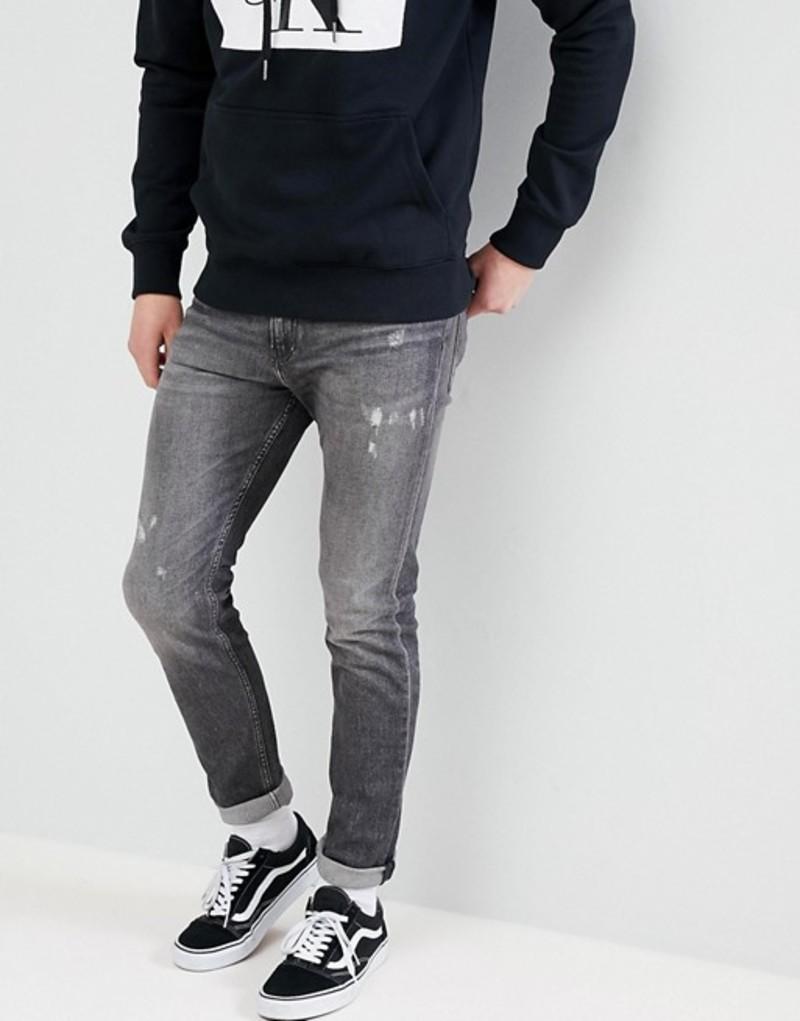 カルバンクライン メンズ デニムパンツ ボトムス Calvin Klein Jeans Skinny Jeans With Rip and Repair Shattuca black