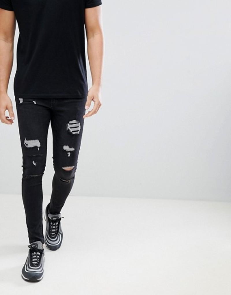 イレブンディグリー メンズ デニムパンツ ボトムス 11 Degrees super skinny jeans in washed black with distressing Black