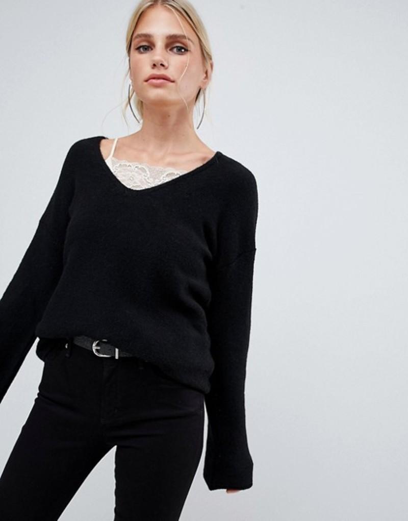 シスレー レディース ニット・セーター アウター Sisley flared sleeve v neck knit sweater in black Black
