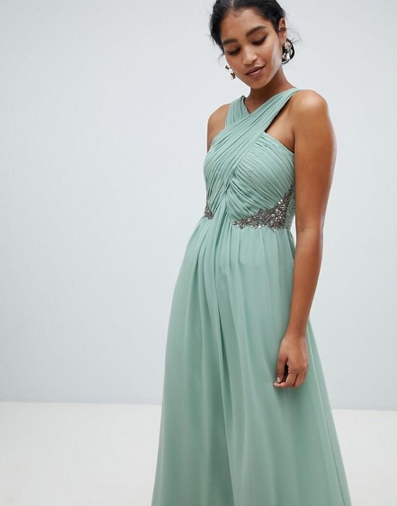 リトルミストレス レディース ワンピース トップス Little Mistress ruched maxi dress with embellished detail Green