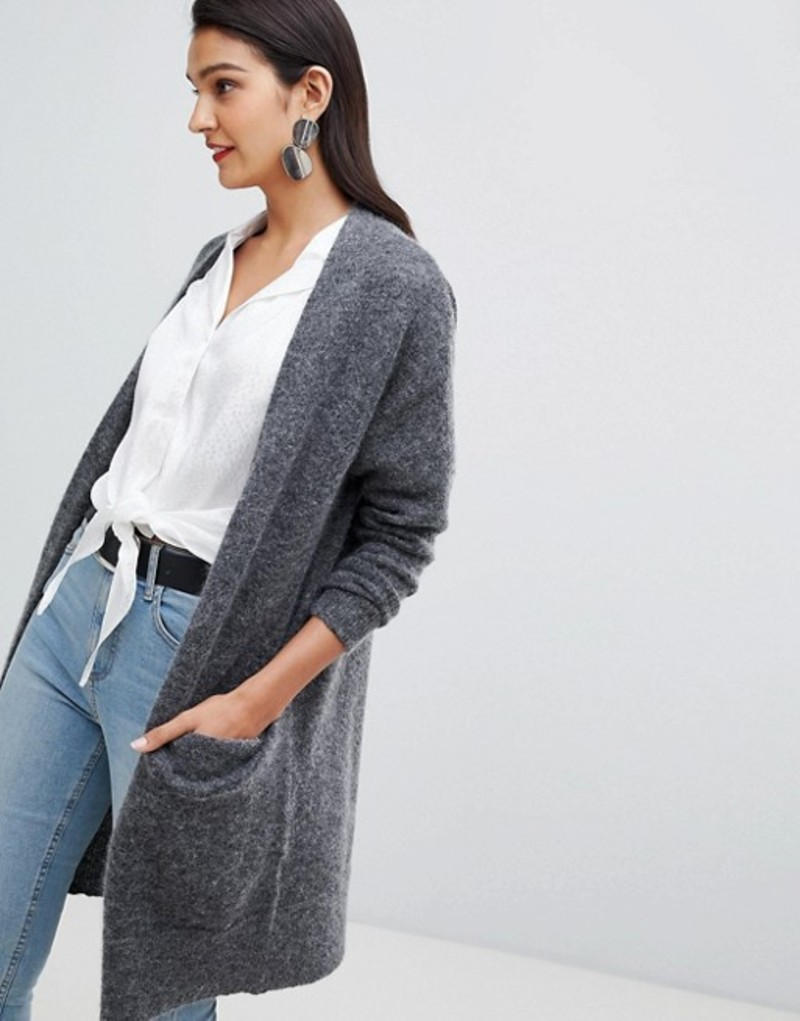 セレクティッド レディース カーディガン アウター Selected Femme knitted cardigan Grey
