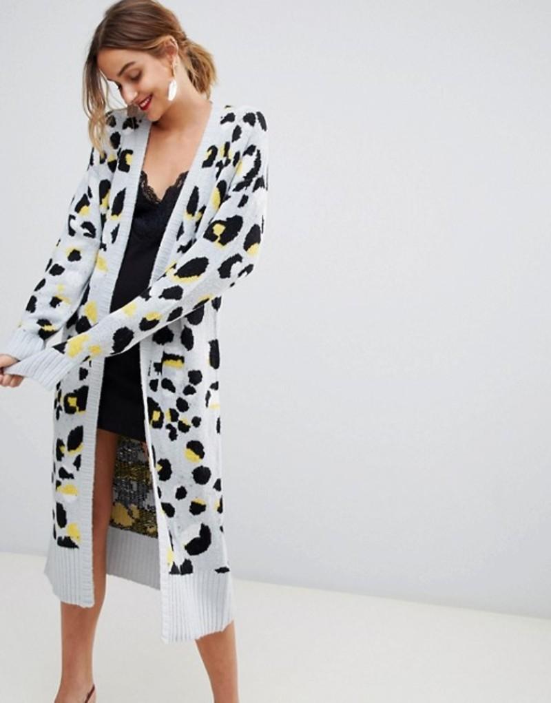 ロストインク レディース カーディガン アウター Lost Ink Cardigan In Leopard Print Grey leopard