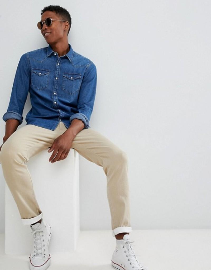 セレクテッドオム メンズ シャツ トップス Selected Homme Denim Shirt In Regular Fit Medium blue denim