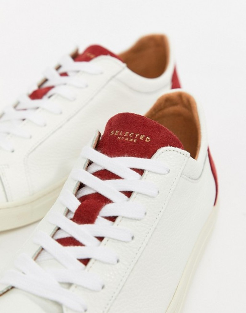 セレクテッドオム メンズ スニーカー シューズ Selected Homme Premium Sneaker With Contrast Heel Barbados cherry