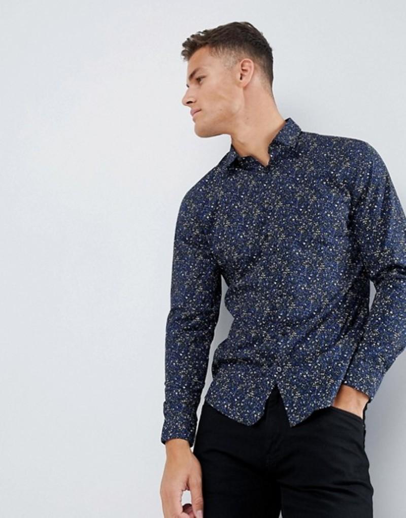 セレクテッドオム メンズ シャツ トップス Selected Homme Smart Shirt In Slim Fit All Over Print Estate blue