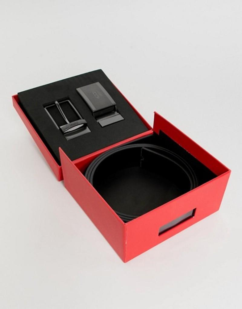フューゴ メンズ ベルト アクセサリー Hugo Gino reversible black gift box belt in black Black