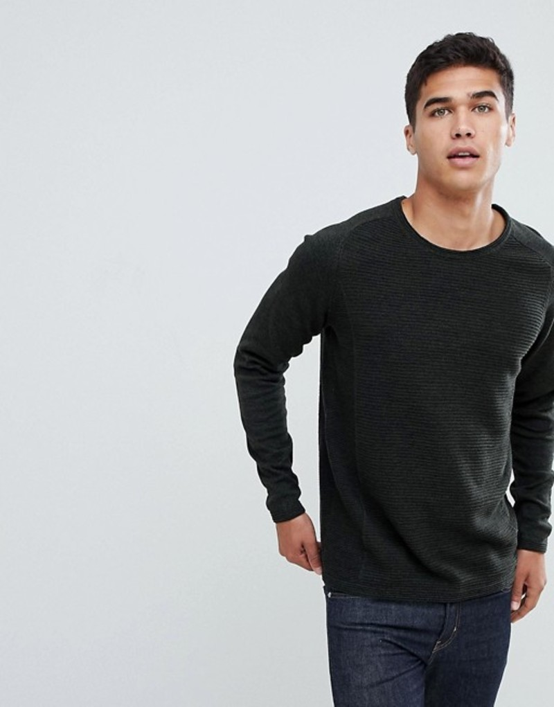 セレクテッドオム メンズ ニット・セーター アウター Selected Homme Knitted Sweater In Ribbed 100% Organic Cotton Titanium melange