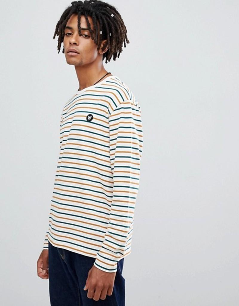 ウッド ウッド メンズ Tシャツ トップス Wood Wood Mel multi color striped long sleeve t-shirt White