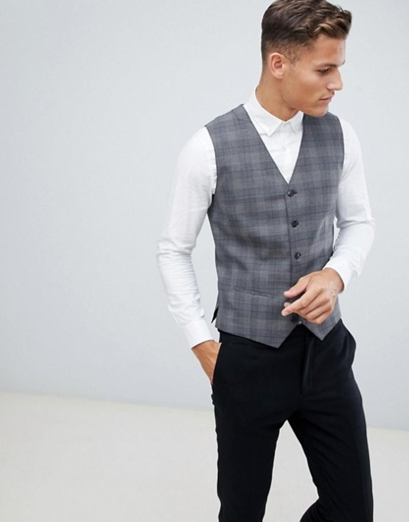 ジャック アンド ジョーンズ メンズ タンクトップ トップス Jack & Jones Premium Slim Vest In Gray Check Grey melange