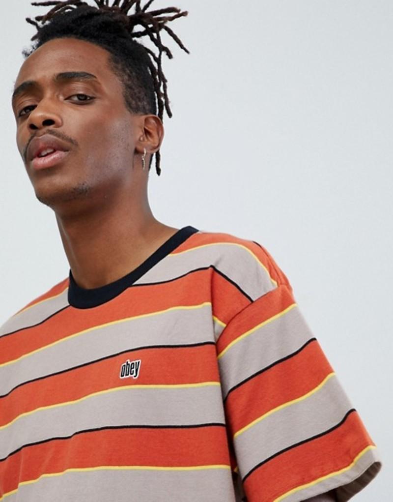 オベイ メンズ Tシャツ トップス Obey Burn classic stripe t-shirt in brown Brown