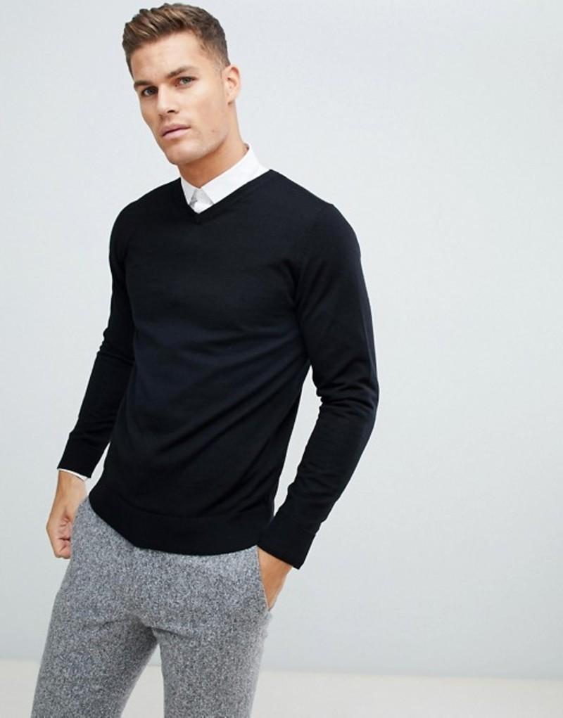 ジャック アンド ジョーンズ メンズ ニット・セーター アウター Jack & Jones Essentials 100% Merino V Neck Sweater Black