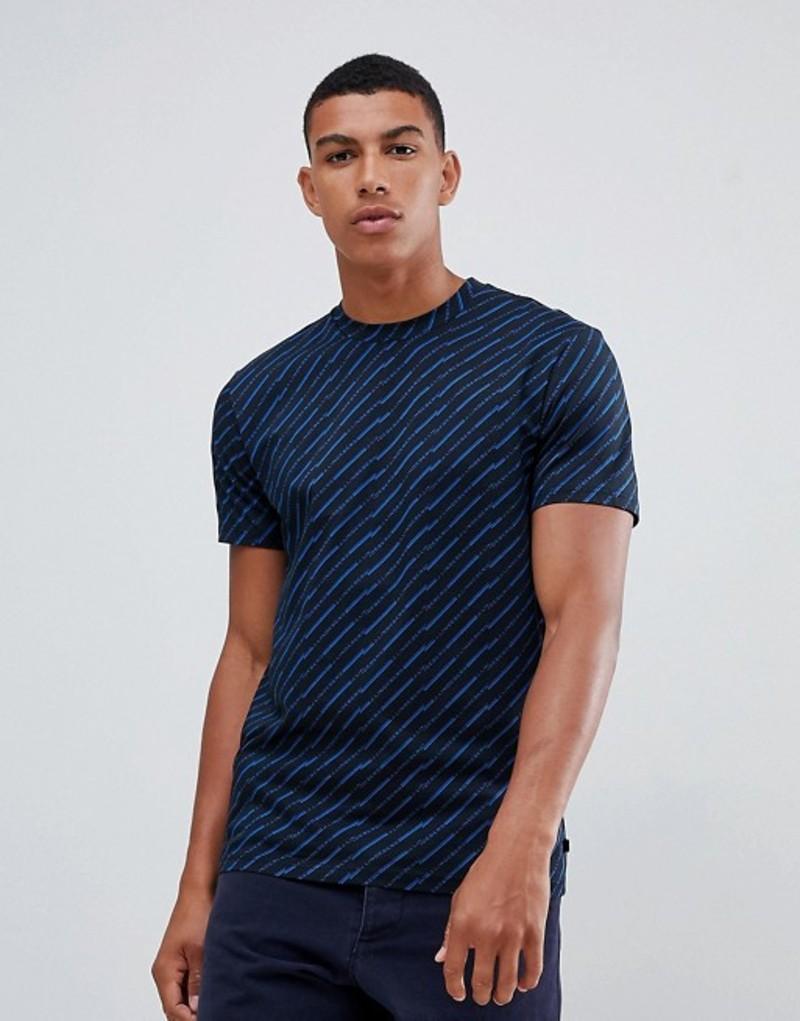 Jリンドバーグ メンズ Tシャツ トップス J.Lindeberg swing broken chevron logo print t-shirt in blue Blue