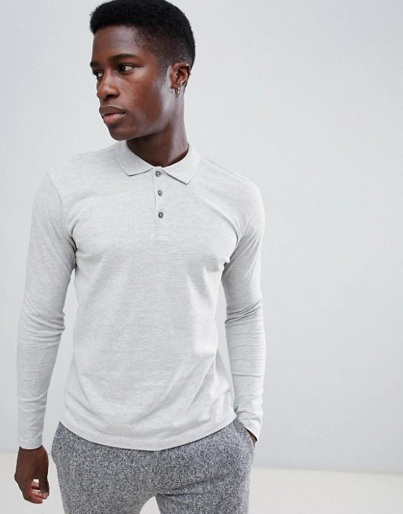 セレクテッドオム メンズ ポロシャツ トップス Selected Homme Long Sleeve Polo Shirt In Slim Fit Medium grey melange