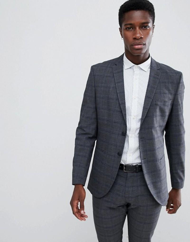 セレクテッドオム メンズ ジャケット・ブルゾン アウター Selected Homme Slim Fit Suit Jacket In Gray Check Medium grey melange