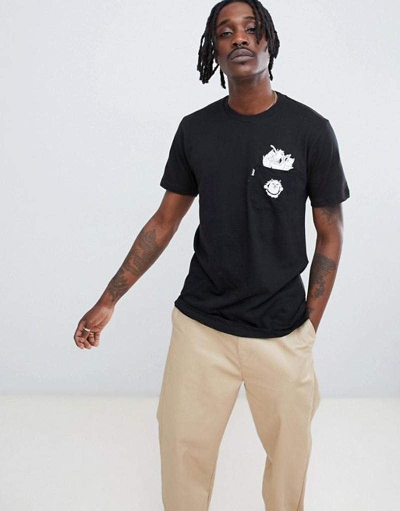 リップンディップ メンズ Tシャツ トップス RIPNDIP stuffed t-shirt with pocket in black Black